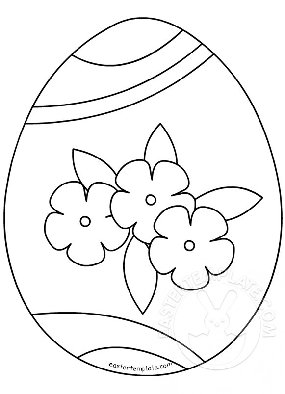 Easter egg ornament flowers coloring page